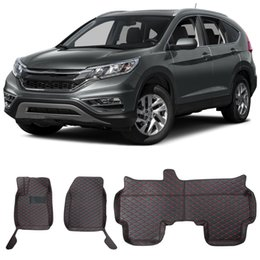 Wholesale Honda Carpet Mats - for Honda CR-V Floor Mats 2012-2016 Floor Carpets Luxury XPE Leather Floor Liner, Heavy Duty, Black and Red Stiching Paw Design