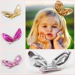 i bambini migliori prua Sconti Orecchie di coniglio in pelle lucido nuovo design Forcelle per capelli ragazze accessori per capelli regalo migliore clip di capelli arco YH671