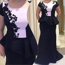 Wholesale Short Sleeves For Dresse - Robe De Soiree 2017 Elegant Two Pieces Black and White Mermaid Prom Dresse with Appliques Vestido De Noche for Evening Party Gowns