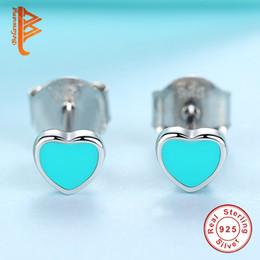 Wholesale Earring Studs For Sale - BELAWANG Hot Sale 4 Styles 925 Sterling Silver Heart Star Flower Stud Earrings for Girls Fashion Jewelry Black&Blue&Pink Enamel Earrings