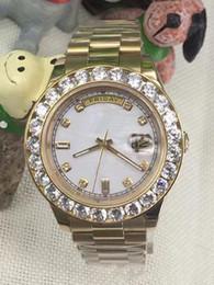 Wholesale Men Green Diamond Watches - 2017 hot sale Luxury brand watch men date white face big diamond bezel 18k gold automatic mens watch wrist watches free shipping