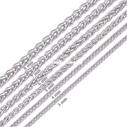 """Wholesale gift baskets weddings - Width 3.0mm 4.0mm 5.0mm 6.0mm 7.0mm 8.0mm 316L Stainless Steel Mens Necklace Twist Chain Knitting Rope Flower Basket Chain (18""""-22"""" inches)"""