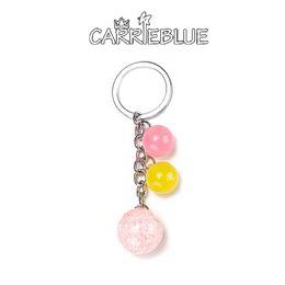 Wholesale Candy Silver Balls - 2017 hot cute Acrylic candy bead Charm Silver Key Ring For Car Bag Key Chain Handbag pendant bag charm women's accessories KY12