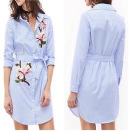 Wholesale Elegant Blue Blouse - Fashion Embroidery striped shirts elastic waist blouses summer dress autumn Sexy Button Lapel Neck dress women Elegant long sleeve dresses