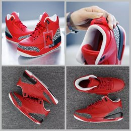 Wholesale X Men 13 - 2017 Air retro 3 x DJ Khaled Grateful PE Men basketball shoes fire red High quality retro 3s Mens Sneakers US8-13