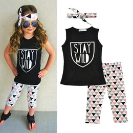 Wholesale Sales Children Clothing - Western Letter Printed Girls Boutique Clothes Sleeveless Baby Girls Clothing set Autumn Hot Sales Children Clothing
