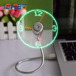 Wholesale Wholesale Led Display Light - USB Time Fan Gadget Mini Flexible LED Light USB Fan Time Clock Desktop Clock Cool Gadget Time Display High Quality