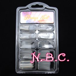 Wholesale Finger Nail Tip Kits - Wholesale- NBC33010 100 Clear Color French Acrylic Style False Nail Art Tips Tools Kit Manicure Set Plasitc Half Nail Tips