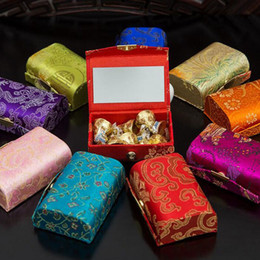 Wholesale Brocade Wedding - Chinese Traditional Brocade Jewelry Box With Mirror Vintage Candy Boxes Gift Package Wedding Party Supplies ZA4095