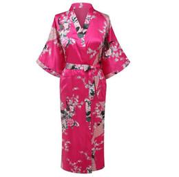Al por mayor-Estilo Hot Pink Ladies Kimono Yukata vestido de mujer Satén de seda Robe Summer Casual camisón FloralPeacock S M L XL XXL XXXL A-109 desde fabricantes