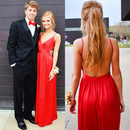 Wholesale Desses Evening - Red Sexy V-neck Prom Dresses 2017 A Line Spaghetti Straps Floor Length Backless Satin Long Party Dress Plus Size Prom Evening Desses