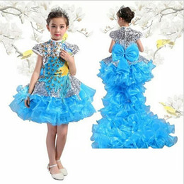 Wholesale Girls Peacock Ball Gown - Children dress Piano Costume Detachable tail Flower Girl Costume Long and short type Chinese improved peacock Costume kid288