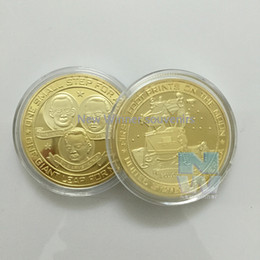 Wholesale Usa Studies - 5PCS lot RARE USA. APOLLO 11,FIRST FOOTSTEPS ON THE MOON AMERICAN 24 CT GOLD PLATED COMMEMORATIVE COIN