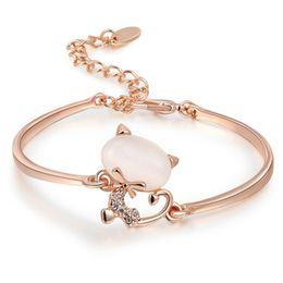 Wholesale White Opal Bangle Bracelet - Wholesale-Rose White Gold Plated Opal Stone Cute Cat Charm Bracelets For Women Bracelets Bangles Jewelry 2060316550