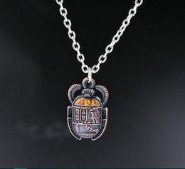 Wholesale Antique Egyptian Jewelry - Wholesale- Egyptian Scarab Beetle With Rhinestones Charms Alloy Pendants Necklaces Vintage Antique Silver Jewelry Gift New 1PCS