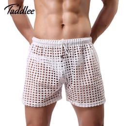 Wholesale See Through Mesh Shorts - Wholesale-2016 Men Shorts Mesh Sheer See Through Gay Penis Man Shorts Brand Sleep Bottoms Sleepwear Mens Shorts Casual Leisure Home Wear