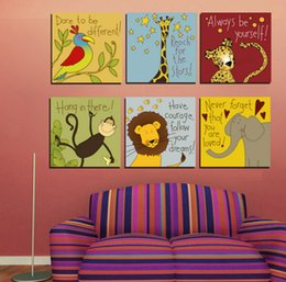 Wholesale Cartoon Pictures For Kids Room - Cartoon Animals Motto Canvas Painting Animated Quotes Prints Maxim Wall Pictures For Bayby Kids Children Room Decor No Frame