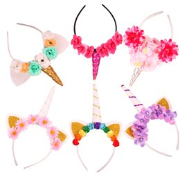Wholesale Lace Hair Flowers - INS Baby Unicorn Party Hairwear Children Birthday Party Flower Hair Clasp Cosplay Crown Baby Cute Lovely Headband Cat Ears