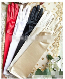 Wholesale Black Satin Gloves Prom - In Stock 1 Pair Full Finger Red White Ivory Black Long Satin Stretch Bridal Gloves Elbow Finger For Ladies Prom Wedding Accessories