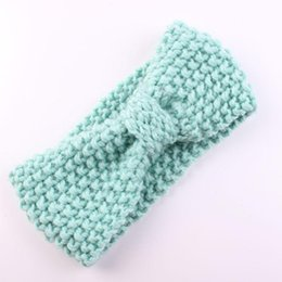 Wholesale Free Crochet Hair Accessories - New Baby Turban Knitted Headbands Woolen Bow Crochet Hairbands Winter Ear Warmer Head wraps Children Hair Accessories Free DHL Factory Price