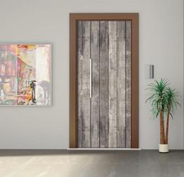 Wholesale Waterproof Decals Bathroom - DIY 3D Wall Sticker Mural Bedroom Home Decor Poster PVC Grey wood pattern Waterproof Door Sticker Decal 77*200cm