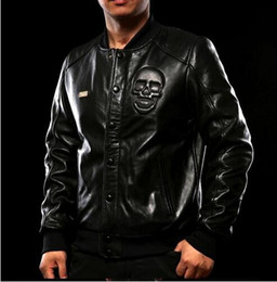 Wholesale Genuine Leather Biker Jacket - 2017 Men Leather Jacket Short Soft Genuine Real Sheepskin Skull Motorcycle Biker Coat jaqueta de couro masculina short coat