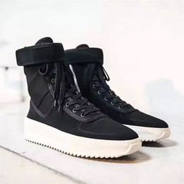 Wholesale Mens Leather Army Boots - 2017 High TOP quality Owen Fear of god Military Sneaker Khaki Black Hight Men's Army Boots fear of god Top Mens Shoes Boots Free Shipping