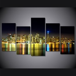 Wholesale New York Paint - 5 Pcs Set Framed HD Printed New York City At Night Picture Wall Art Canvas Print Room Decor Poster Canvas Painting Wall
