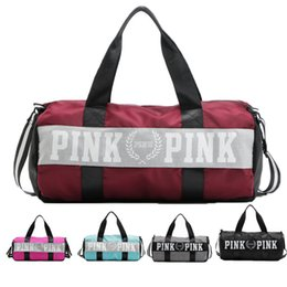 Wholesale Fitness Media - Women Pink Handbags Secret Letter Travel Bags Beach Bag Duffle Striped Shoulder Bags Large Capacity Waterproof Fitness Yoga Bags 3007009