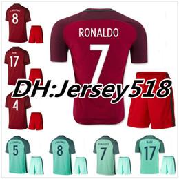 Wholesale Orange Men S Shirts - best quality 2016 Portugal Soccer jersey kits 2016 2017 RONALDO NANI QUARESMA PEPE GUERREIRO Euro Cup Portugal Men's Football Shirts
