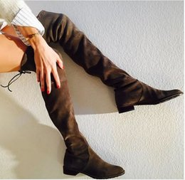 Wholesale Grey Long Boots For Women - 2017 SW Botas Femininas Autumn Women Flat Thigh High Boots Black Suede Over the Knee Slim Elastic Long Low Heel Boots For Women