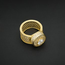 Wholesale Gold Ring Pops - New Arrival Gems Gold Ring Hip hop Style For Men Brand HIP HOP Jewelry 2017 New Pop 18K Gold Plate Accessories