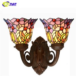 Wholesale Orchid Wall Arts - FUMAT Tiffany Wall Lamp Art Orchid Glass Shade Lights Corridor Bar Restaurant Hotel Lights Mirror Front Light Wall Sconce