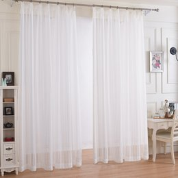 Wholesale Double Gauze Fabric - White Striped Design Window Gauze Sheer Curtains For LivingRoom Balcony Kitchen Drapes voile tulle curtain for window fabric