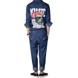 Wholesale Denim Overalls Sets - Wholesale-Men's fashion skull pattern print detachable overalls Black blue full sleeve denim jumpsuits Jeans set