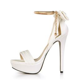Wholesale Wedding Dresses Thin Straps - New Elegant Women High Heel Platform Sandals Fashion Bow Thin Heels Sandalias High-quality Satin Party Wedding Dress Shoes Mujer Sandalias