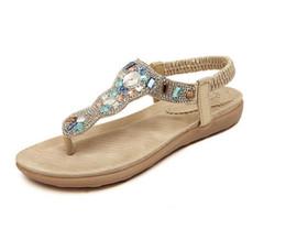 sandálias de diamante de ouro Desconto Venda quente de Verão Sandálias de Diamante de Couro Macio Sapatos Confortáveis Senhoras Sliver Ouro Sandálias das Mulheres Sapatos Baixos Femininos. LX-026