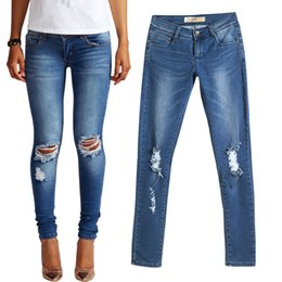 Wholesale Womens Jeans Stretch - Wholesale- Hot Fashion Ladies Cotton Denim Pants Stretch Womens Bleach Ripped Skinny Jeans Denim Jeans For Women Pants Female