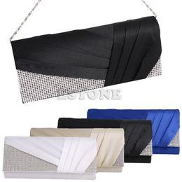 Wholesale Elegant Evening Handbag Rhinestone - Wholesale- New Fashion Women Elegant Pleated Satin Rhinestone Fashion Clutch Evening Bag Handbag Purse