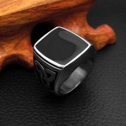 Wholesale Enamel Rings Stainless Steel - 2017 Classic Rhinestone Men Ring Black Enamel Male Finger Rings Best Selling