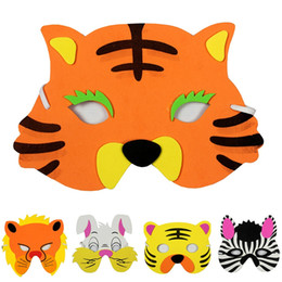 face mask animal for kid Promo Codes - Wholesale- Colorful lovely Animal simple easy mask maske for kids child Christmas Halloween Children's day performance props Tiger