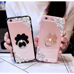 Wholesale Diamond Flower Phone Cases - For Samsung galaxy G530 j3 j5 j7 2016 2017 grand prime Emerge Cute flower finger ring diamond bling glitter phone cover case strap