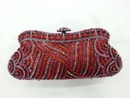 Wholesale Bohemian Purses - Wholesale-GIFT BOX BlingBling Bohemian Crystals Minaudiere Women Handbag Clutches Rhinestones Red Crystal Purses Evening Bags Clutch Bag
