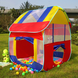Wholesale Kids Foldable Play Tent - Wholesale- Kids Play House Tent Portable Foldable Prince Folding Tent Children Boy Castle Cubby Play House Kids Gifts Outdoor Toy Tents