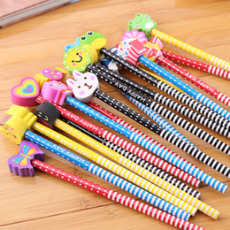 caixas de lápis coloridas por atacado Desconto Lápis das crianças estudantes criativos de madeira bonito animal eraserpencil borracha lápis papelaria atacado