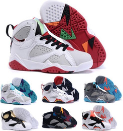Wholesale Baby Girl Size Shoes - 2017 Kids Retro 7 Shoes Children Boys Girls Baby Toddler Air Retro 7s Basketball Shoes China Brands Black Replica Sneakers Size 11C-3Y