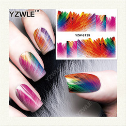 Wholesale Nail Salon Art Prints - Wholesale- YZWLE 1 Sheet DIY Decals Nails Art Water Transfer Printing Stickers Accessories For Manicure Salon YZW-8139