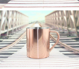 Wholesale Stainless Steel Candle - Vacuum Plating Copper Cup Durable Moscow Mule Mug Coffee Water Cups Candle Whisky Mugs Stainless Steel Mug KKA1746