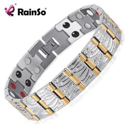 Wholesale Couple Birthday - Rainso Jewelry Birthday Gift For Men Couple Gold Plating Health Germanium Steel Bio Magnetic Stainless Steel Bracelet OSB-065SG