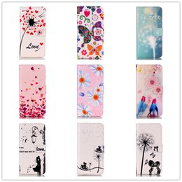 Wholesale Wallet Painting - Cartoon Painting Leather Wallet Case for iPhone 7 6s SE Huawei SONY Colored Drawing Pattern Case with Stand Card Holder Magnetic Closing